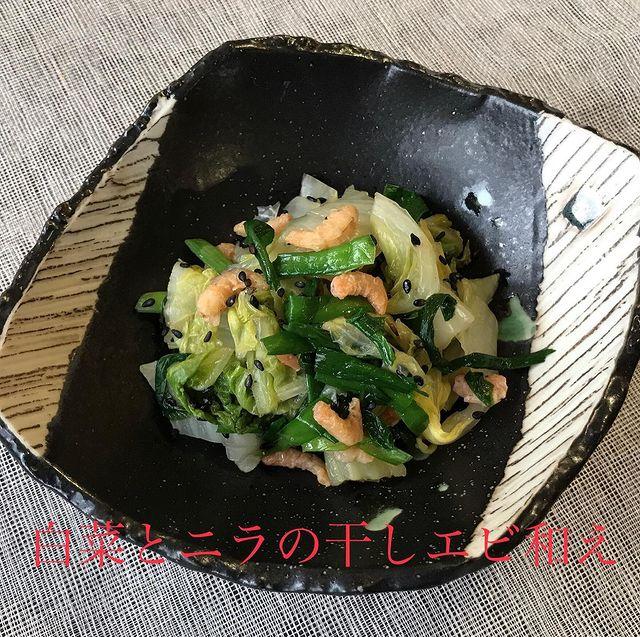 春の薬膳|白菜とニラの干しエビ和え